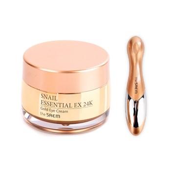 СМ Snail Крем для кожи вокруг глаз с муцином улитки и вибромассажер Snail Essential EX 24K Gold Eye Cream Set 30мл - фото 5879