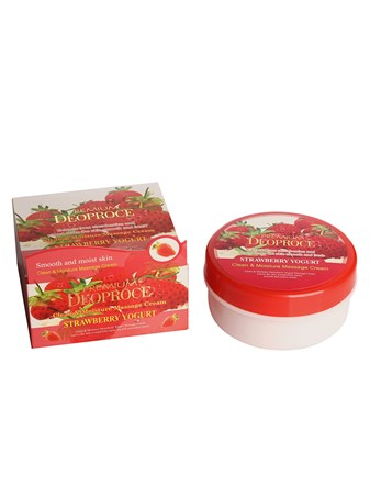 ДП PREMIUM Крем массажный с экстрактом клубники PREMIUM DEOPROCE CLEAN & MOISTURE STRAWBERRY YOGURT MASSAGE CREAM 300g 300гр - фото 5937