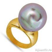 """Кольцо с жемчугом """"Майорка"""", цвет перламутра серо-коричневый, покрытие: золото"""