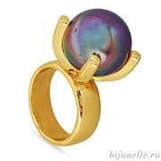 """Кольцо с жемчугом """"Майорка"""", цвет перламутра лиловый хамелеон, покрытие: золото"""