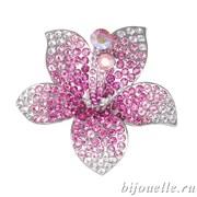 """Брошь """"Розовый цветок"""" с кристаллами Swarovski, цвет розовый, покрытие: родий"""