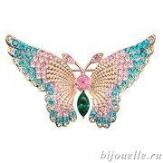 """Брошь """"Бабочка"""" с кристаллами Swarovski, цвет синий, розовый, покрытие: золото"""