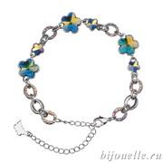 Браслет с кристаллами Swarovski, цвет сине-желтый хамелеон, покрытие: родий