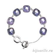 Браслет с кристаллами Swarovski, цвет сиреневый, фиолетовый, покрытие: родий