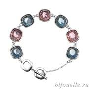 Браслет с кристаллами Swarovski, цвет голубой, сиреневый, покрытие: родий