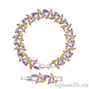 Браслет с цирконами, цвет микс, покрытие: родий