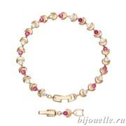 Браслет с цирконами, цвет малиновый, покрытие: золото