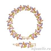 Браслет с цирконами, цвет микс, покрытие: золото
