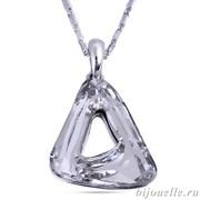 Кулон треугольный с кристаллами Swarovski, цвет белый, покрытие: родий