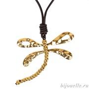 """Кулон """"Стрекоза"""" на коричневом кожаном шнурке, покрытие золото, покрытие: золото"""