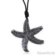 "Кулон ""Морская звезда"" на черном кожаном шнурке, покрытие: серебро"