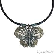 """Кулон """"Бабочка"""" на синем кожаном шнурке, покрытие: бронза"""