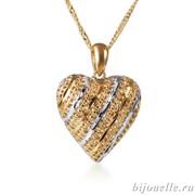 """Кулон """"Сердце"""" на цепочке, покрытие: золото"""
