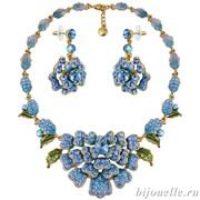 Комплект: колье, серьги с кристаллами Swarovski, цвет микс, голубой, покрытие золото