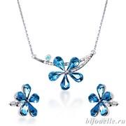 Комплект: кулон, серьги с кристаллами Swarovski, цвет голубой, покрытие: родий