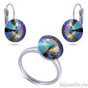 Ювелирная бижутерия: кольцо и серьги со Сваровски зелено-фиолетовый хамелеон, белое золото