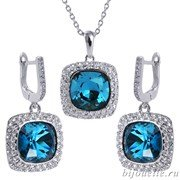 Комплект: кулон, серьги с кристаллами Swarovski, цвет белый, синий, покрытие: родий