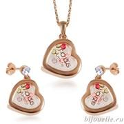 """Комплект """"Сердечки"""": кулон, серьги с кристаллами Swarovski, цвет микс, покрытие: родий"""