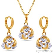 Комплект: кулон, серьги с цирконами, цвет белый, покрытие: золото