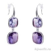 Серьги с кристаллами Swarovski, цвет фиолетовый, покрытие: родий