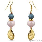 """Серьги с розовым жемчугом """"Майорка"""" и синей эмалью, покрытие: золото"""