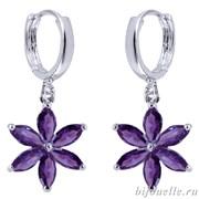Серьги с цирконами, цвет фиолетовый, покрытие: родий