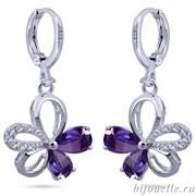 """Серьги """"Капли"""" с фиолетовыми цирконами, покрытие: родий"""