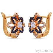 Серьги с цирконами, цвет белый, синий, покрытие: золото