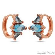 Серьги с цирконами, цвет голубой, покрытие: золото розовое