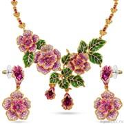 Комплект: колье, серьги с кристаллами Swarovski и эмалью, цвет микс, розовый, покрытие золото