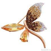 Брошь с кристаллами Swarovski, цвет микс, покрытие: золото