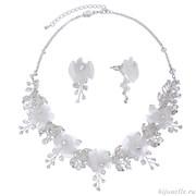 """Свадебная бижутерия для невесты комплект """"Белые цветы"""""""
