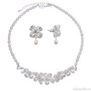 Комплект бижутерии для невесты из жемчуга с кристаллами Сваровски