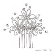 Гребень для волос свадебный из бисера с кристаллами Сваровски