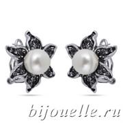 Серьги с жемчугом и кристаллами Сваровски, покрытие черненое серебро