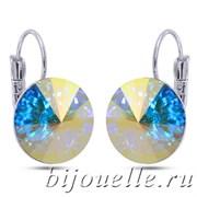 Серьги с кристаллами Сваровски голубой хамелеон