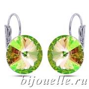 Серьги с кристаллами Сваровски зеленый хамелеон 1,4см, покрытие: родий