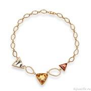 Колье с кристаллами Swarovski, цвет микс, покрытие: золото