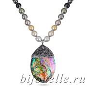 Колье с жемчугом Майорка, кристаллами Swarovski, перламутром, цвет белый, покрытие: родий