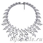 "Колье бижутерия ""Ветки кораллов"" серебро 60 см"