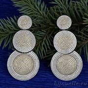"""Вечерние круглые серьги """"Трио"""" с кубическим микро цирконием micro pave (7,4*3,6), 2 тона покрытия: родий, золото"""