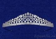 """Свадебная тиара """"Принцесса"""" с кубическим цирконием (высота 2,7 см), покрытие родий"""