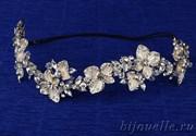 Чешское свадебное украшение на голову для прически цвет айвори (32*4 см) с кристаллами и кубическим цирконием, покрытие золото