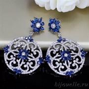 Роскошные винтажные круглые серьги с синим камнем кубического циркония, (3*3 см), покрытие родий