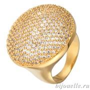 """Модное позолоченное кольцо """"Большой гриб"""" с микро фианитами, покрытие желтое золото"""