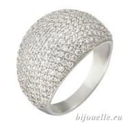 Широкое модное кольцо с микро фианитами ювелирная бижутерия, покрытие родий