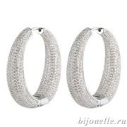 """Роскошные Серьги-кольца """"Silver"""" с микро фианитами (3,7*3,7 см), покрытие родий"""