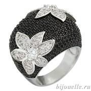 """Крупное кольцо """"Черный цветок"""" с черными камнями микро циркония, покрытие родий"""