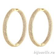 Большие серьги-кольца с микро фианитами (4,5*4,5 см), покрытие золото